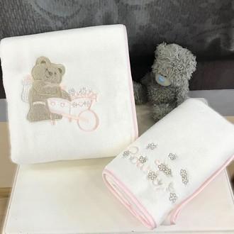 Подарочный набор детских полотенец Tivolyo Home POURTOL хлопковая махра 50х90, 70х130 розовый