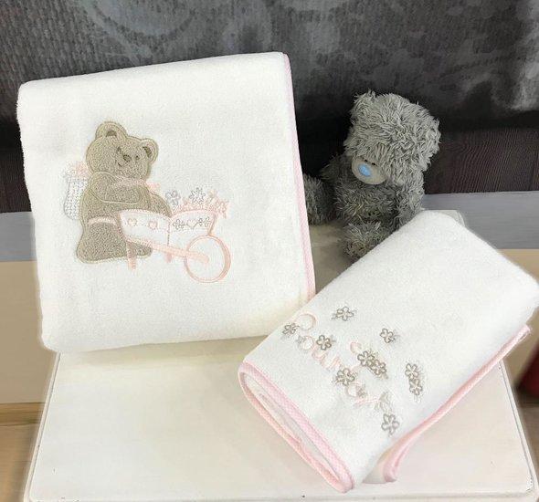 Подарочный набор детских полотенец Tivolyo Home POURTOL хлопковая махра 50*90, 70*130 (розовый), фото, фотография