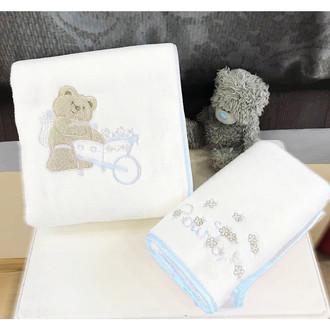Подарочный набор детских полотенец Tivolyo Home POURTOL хлопковая махра 50*90, 70*130 (синий)