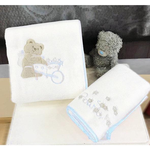 Подарочный набор детских полотенец Tivolyo Home POURTOL хлопковая махра 50*90, 70*130 (синий), фото, фотография