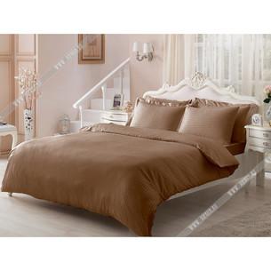 Постельное белье Tivolyo Home JAQUARD сатин-жаккард коричневый 1,5 спальный