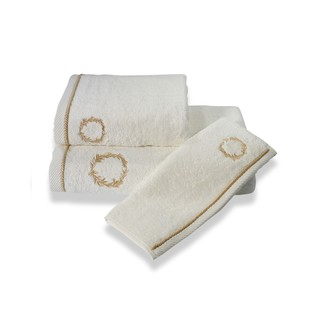 Набор полотенец для ванной в подарочной упаковке Soft Cotton SEHZADE хлопковая махра 3 пр. (молочный)