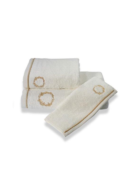 Набор полотенец для ванной в подарочной упаковке Soft Cotton SEHZADE хлопковая махра 3 пр. (молочный), фото, фотография