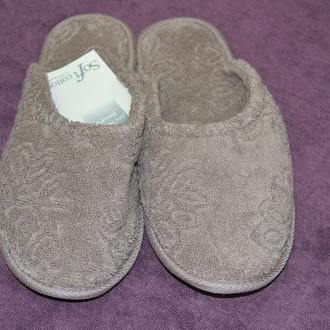 Тапочки женские Soft Cotton LEAF (коричневый)