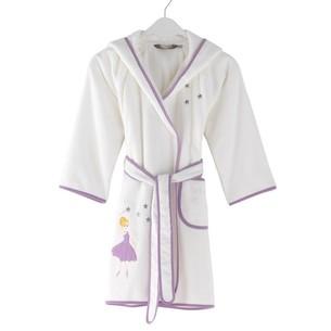 Халат детский для девочки Soft Cotton BALERINA хлопковая махра лиловый 2 года