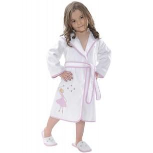 Халат детский для девочки Soft Cotton BALERINA хлопковая махра розовый 2 года
