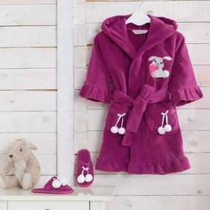 Халат детский для девочки Soft Cotton BUNNY хлопковая махра фиолетовый 2 года