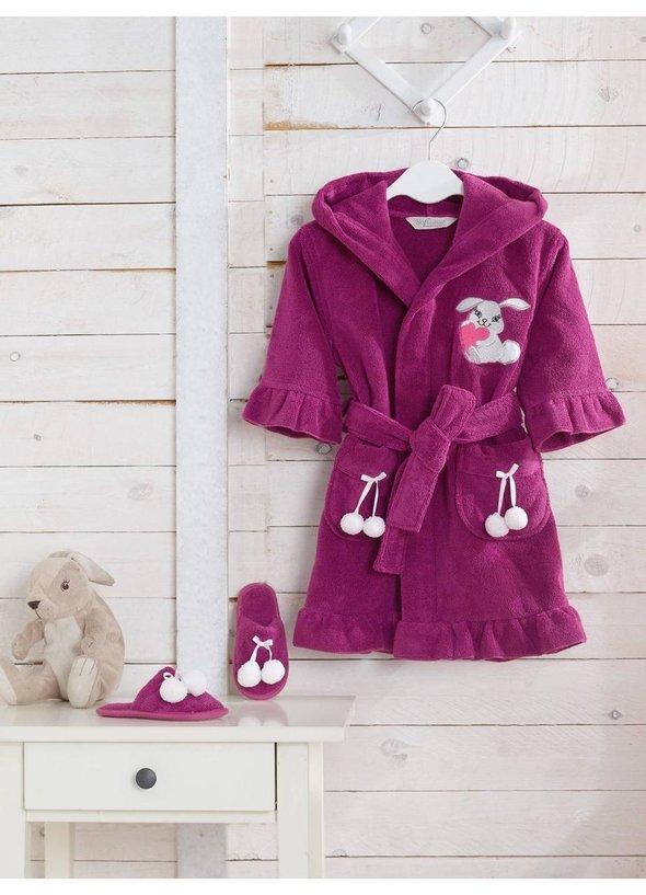 Халат детский для девочки Soft Cotton BUNNY хлопковая махра (фиолетовый) 2 года, фото, фотография