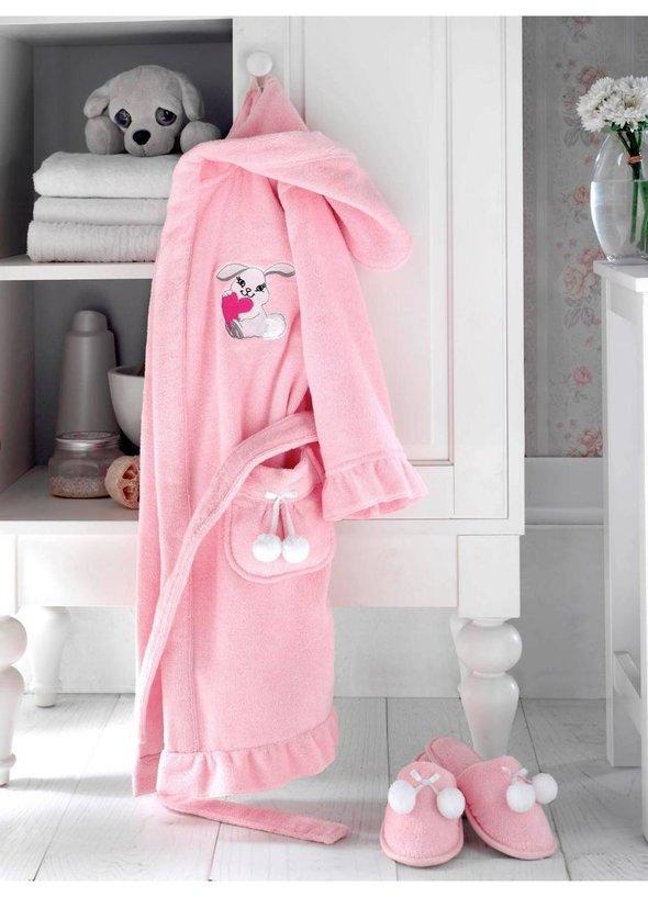 Халат детский для девочки Soft Cotton BUNNY хлопковая махра (розовый) 4 года, фото, фотография