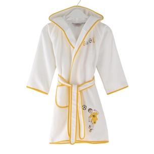 Халат детский для мальчика Soft Cotton FOOTBALLER хлопковая махра жёлтый 10 лет