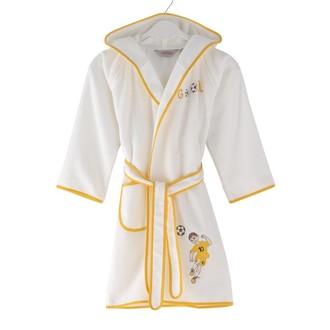 Халат детский для мальчика Soft Cotton FOOTBALLER хлопковая махра (жёлтый)