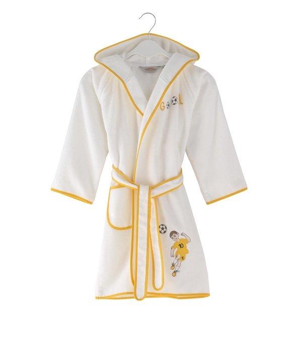 Халат детский для мальчика Soft Cotton FOOTBALLER хлопковая махра (жёлтый) 4 года, фото, фотография
