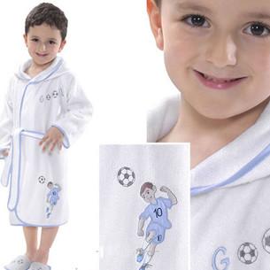 Халат детский для мальчика Soft Cotton FOOTBALLER хлопковая махра голубой 2 года
