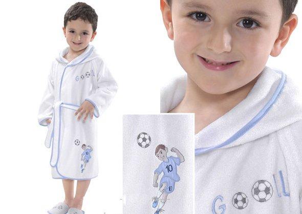 Халат детский для мальчика Soft Cotton FOOTBALLER хлопковая махра (голубой) 2 года, фото, фотография