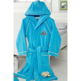 Халат детский для мальчика Soft Cotton PILOT хлопковая махра (голубой)