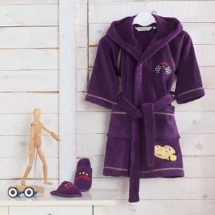 Халат детский для мальчика Soft Cotton PILOT хлопковая махра фиолетовый 2 года