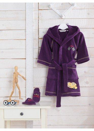Халат детский для мальчика Soft Cotton PILOT хлопковая махра (фиолетовый) 2 года, фото, фотография