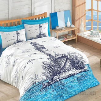 Постельное белье Cotton Box MARITIME LIGHTHOUSE хлопковый ранфорс (голубой)