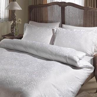 Комплект постельного белья TAC LUX GARDENIA хлопковый сатин-жаккард делюкс (белый)