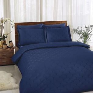 Постельное белье TAC LUX CROSS хлопковый сатин-жаккард делюкс синий евро