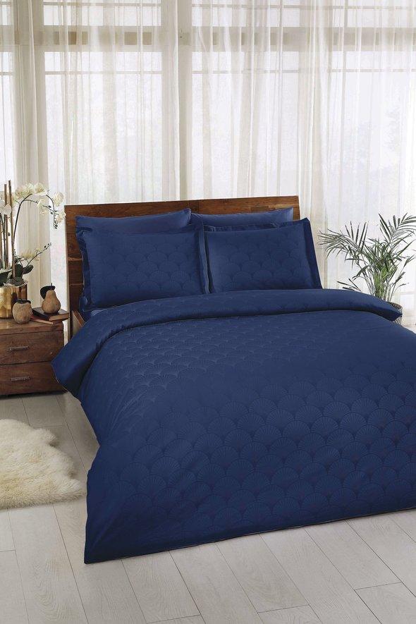 Комплект постельного белья TAC LUX CROSS хлопковый сатин-жаккард делюкс (синий) евро, фото, фотография