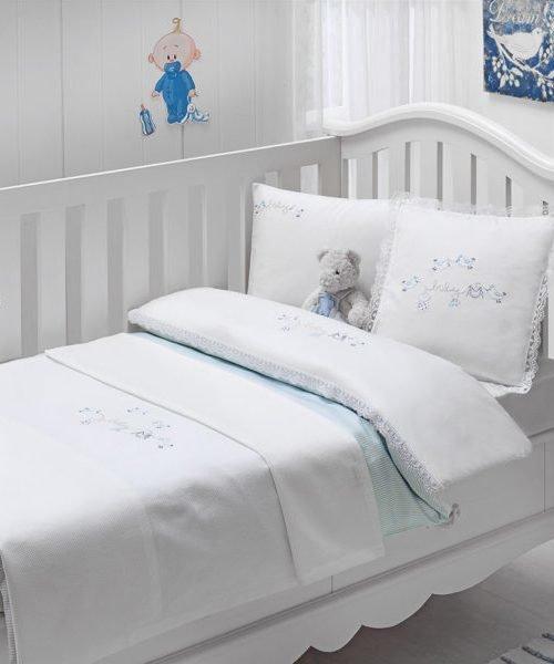 Постельное белье для новорожденных Tivolyo Home COUPLE BEBE хлопковый сатин голубой, фото, фотография
