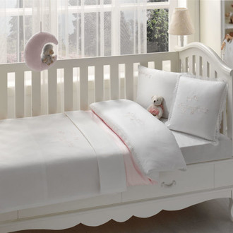 Постельное белье для новорожденных Tivolyo Home COUPLE BEBE хлопковый сатин розовый