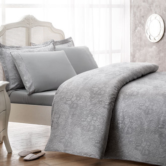 Комплект постельного белья Tivolyo Home CROCODILE бамбуковый сатин-жаккард (серый)