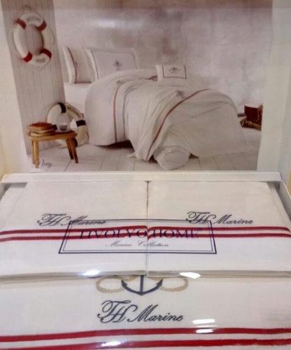 Постельное белье Tivolyo Home NAVY хлопковый сатин делюкс (белый) евро-макси, фото, фотография