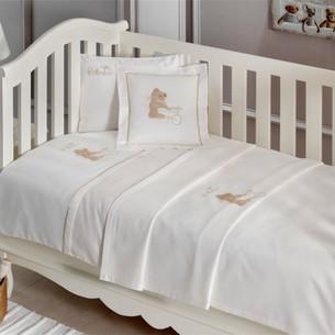 Постельное белье для новорожденных Tivolyo Home POURTOL BEBE хлопковый сатин кофейный