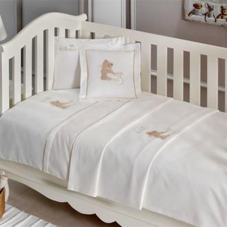 Комплект детского постельного белья в кроватку Tivolyo Home POURTOL BEBE хлопковый сатин (бежевый)