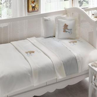 Комплект детского постельного белья в кроватку Tivolyo Home POURTOL BEBE хлопковый сатин (голубой)