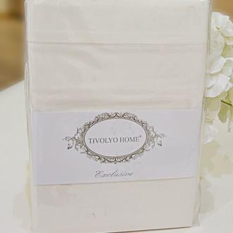 Простынь Tivolyo Home хлопковый сатин делюкс (кремовый)