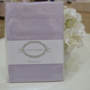 Простынь на резинке Tivolyo Home хлопковый сатин делюкс лиловый 100х200