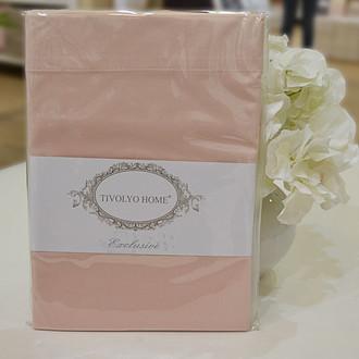 Простынь на резинке Tivolyo Home хлопковый сатин делюкс (розовый)