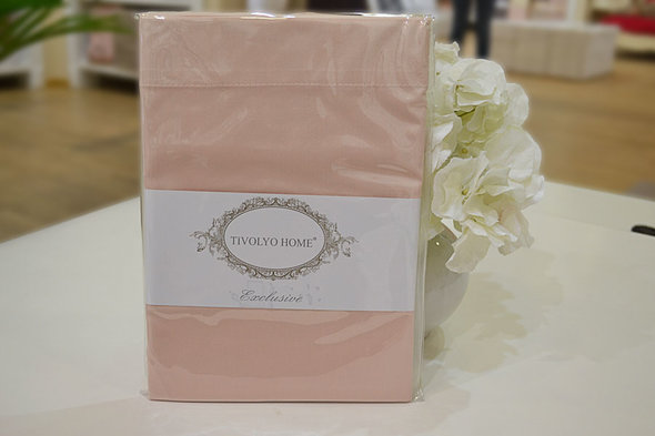 Простынь на резинке Tivolyo Home хлопковый сатин делюкс (розовый) 100*200, фото, фотография