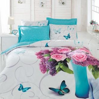 Комплект постельного белья Cotton Box 3D LIFE MERI хлопковый ранфорс (бирюзовый)