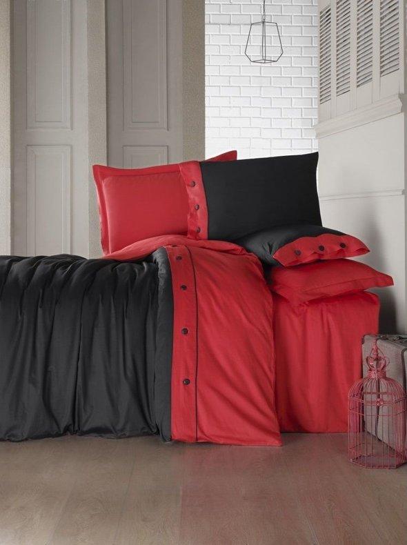 Комплект постельного белья Cotton Box FASHION LINE хлопковый сатин делюкс (красный) евро, фото, фотография