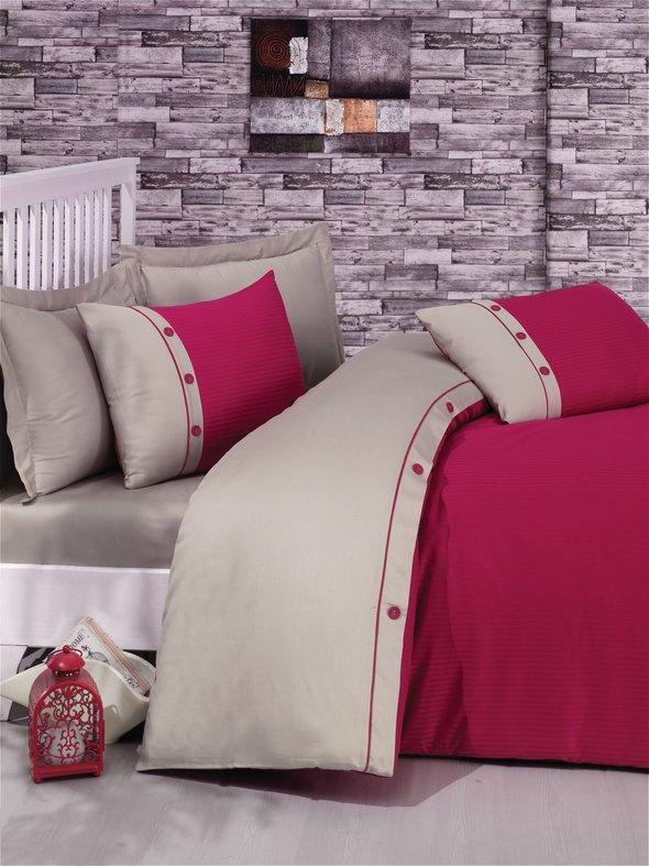 Комплект постельного белья Cotton Box FASHION LINE хлопковый страйп-сатин делюкс (фуксия) евро, фото, фотография