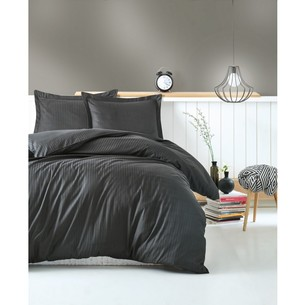 Постельное белье Cotton Box ELEGANT хлопковый страйп-сатин делюкс тёмно-серый евро