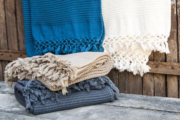 Плед-полотенце Buldan's BOHEM (голубой) 80*160, фото, фотография