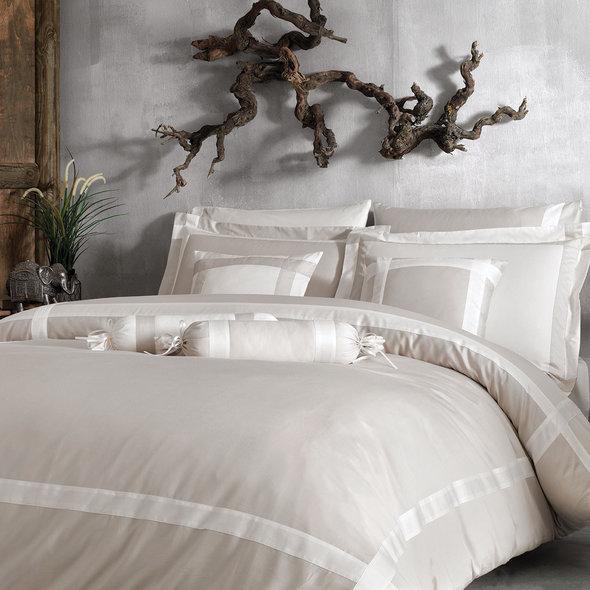 Комплект постельного белья Tivolyo Home BANDA хлопковый люкс-сатин (бежевый) евро-макси, фото, фотография