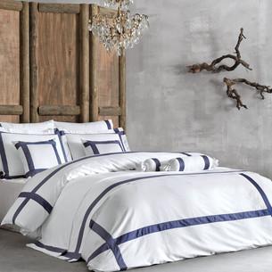 Постельное белье Tivolyo Home BANDA хлопковый люкс-сатин тёмно-синий евро-макси
