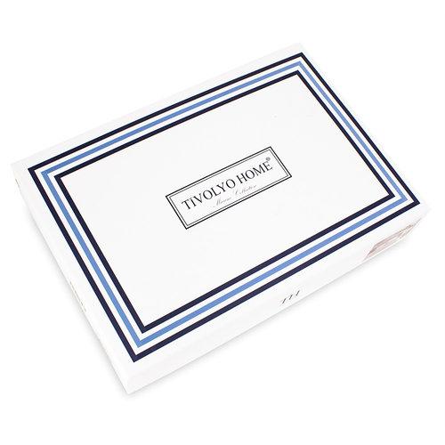 Постельное белье Tivolyo Home BANDA хлопковый люкс-сатин тёмно-синий семейный, фото, фотография