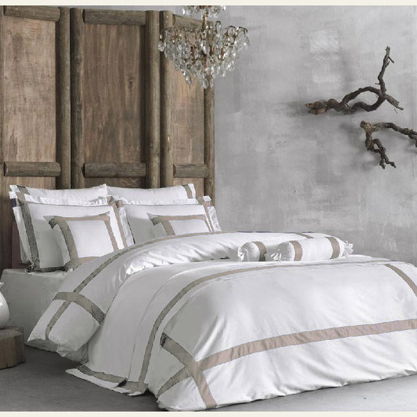Комплект постельного белья Tivolyo Home BANDA хлопковый люкс-сатин (белый+бежевый) евро-макси, фото, фотография