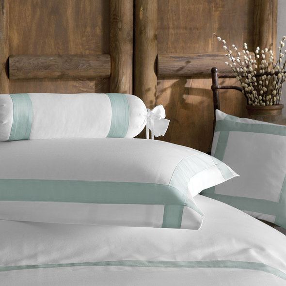Комплект постельного белья Tivolyo Home BANDA хлопковый люкс-сатин (белый+бирюзовый) евро-макси, фото, фотография
