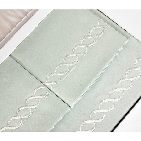 Постельное белье Tivolyo Home CATENA хлопковый люкс-сатин бирюзовый евро-макси, фото, фотография