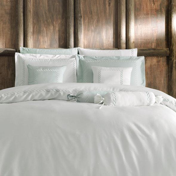 Комплект постельного белья Tivolyo Home CATENA хлопковый люкс-сатин (кремовый+бирюзовый) евро, фото, фотография