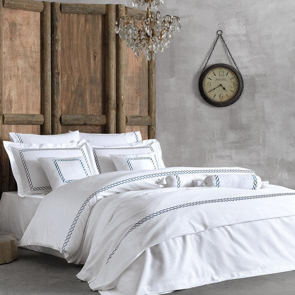 Комплект постельного белья Tivolyo Home CATENA хлопковый люкс-сатин (тёмно-синий) евро, фото, фотография