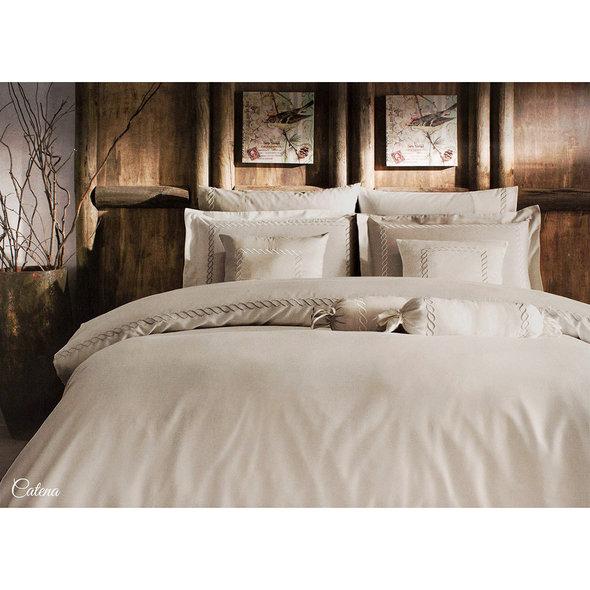 Комплект постельного белья Tivolyo Home CATENA хлопковый люкс-сатин (бежевый) евро-макси, фото, фотография